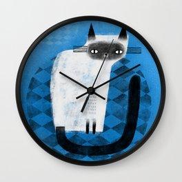 SIAMESE ON BLUE Wall Clock