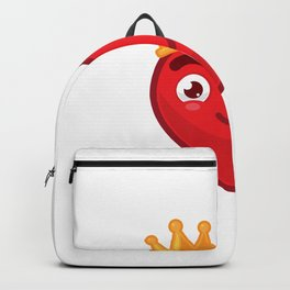 Heart King Cartoon Character Wearing Crown Smiling Backpack