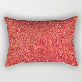 Red Floral Mandala Rectangular Pillow