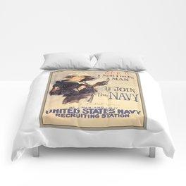 Gee Navy Girl WW1 Vintage Propaganda Poster Comforters