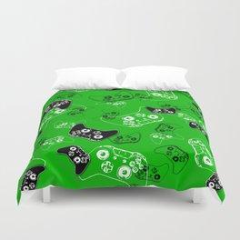 Video Game Green Duvet Cover