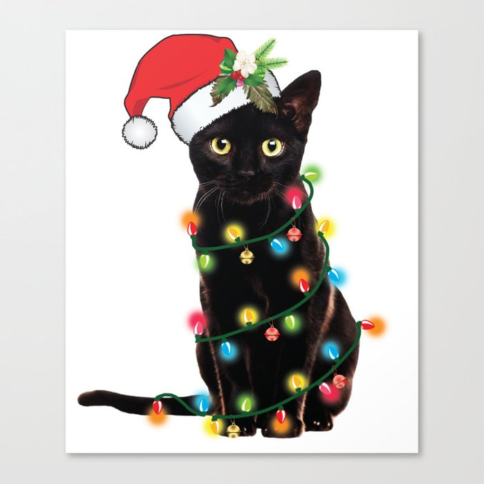 Santa Black Cat Tangled Up In Lights Christmas Santa Graphic Leinwanddruck