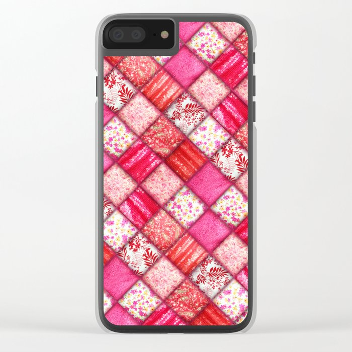 Faux Patchwork Quilting - Pink and Red Clear iPhone Case