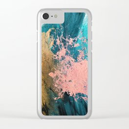 Coral Reef [1]: colorful abstract in blue, teal, gold, and pink Clear iPhone Case