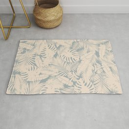 Tropical Plants in Ivory and Vintage Blue Rug