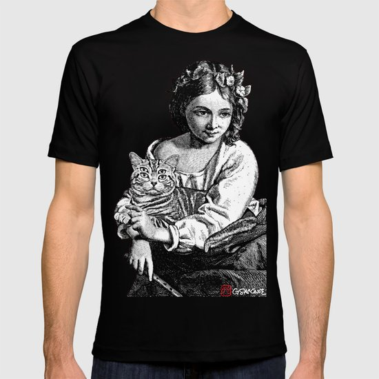 Young Girl with Cat T-shirt
