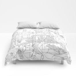 Picasso Line Art - Guernica Comforters
