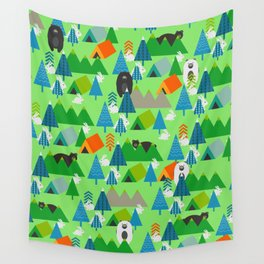 Forest with cute little bunnies and bears Wall Tapestry