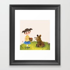 Girl Bear And The Basket Framed Art Print