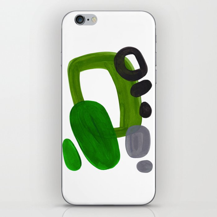 Mid Century Vintage 70's Design Abstract Minimalist Colorful Pop Art Olive Green Dark Green Grey iPhone Skin