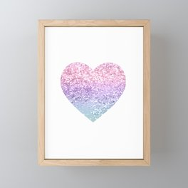Unicorn Girls Glitter Heart #1 #shiny #pastel #decor #art #society6 Framed Mini Art Print