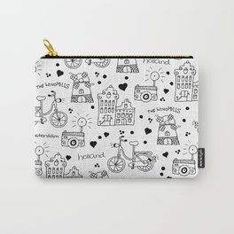 Hello Amsterdam Dutch Hipster travel icons bike and windmill Carry-All Pouch