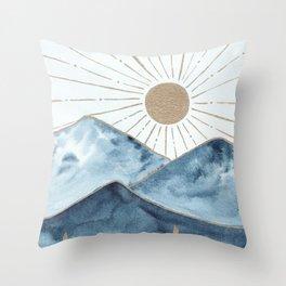 Indigo & gold landscape 1 Throw Pillow