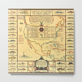 Illustrated Map of Well Known Salt Water Game Fish of North America Metal Print