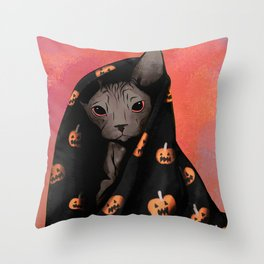 Brown Sphynx Cat Snuggled Up In a Halloween Pumpkin Blanket Throw Pillow
