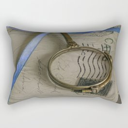 Still life with old letters and vintage loupe Rectangular Pillow