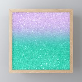 Mermaid purple teal aqua FAUX glitter ombre gradient Framed Mini Art Print