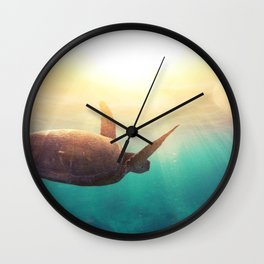 Sea Turtle - Underwater Nature Photography Wall Clock