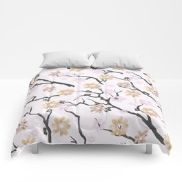 Blush pink black gold watercolor elegant floral Comforters