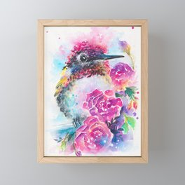 Anna's Hummingbird with Roses Framed Mini Art Print