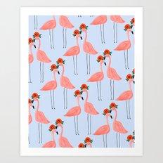 Flower Power Flamingos Art Print