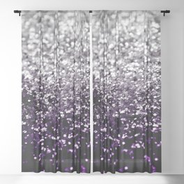 Dark Night Purple Black Silver Glitter #1 #shiny #decor #art #society6 Sheer Curtain