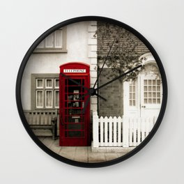 Red Telephone Booth Sepia Spot Color Photography Wall Clock