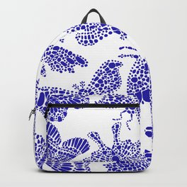 Butterfly Pattern Navy White Stamp Backpack