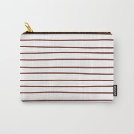 Pantone Burnt Henna Red 19-1540 Hand Drawn Horizontal Lines on White Carry-All Pouch