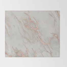 Marble - Rose Gold Marble Metallic Blush Pink Throw Blanket