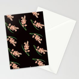 Peach Floral Toss in Black Stationery Cards