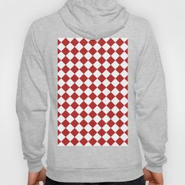 Diamonds - White and Firebrick Red Hoody