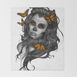 Sugar Skull Tattoo Girl with Butterflies Throw Blanket