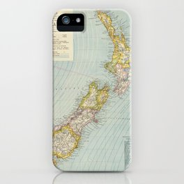 Vintage Map of New Zealand (1883) iPhone Case
