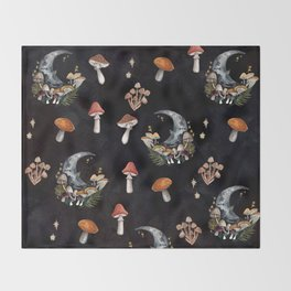 Mushroom Moon Throw Blanket