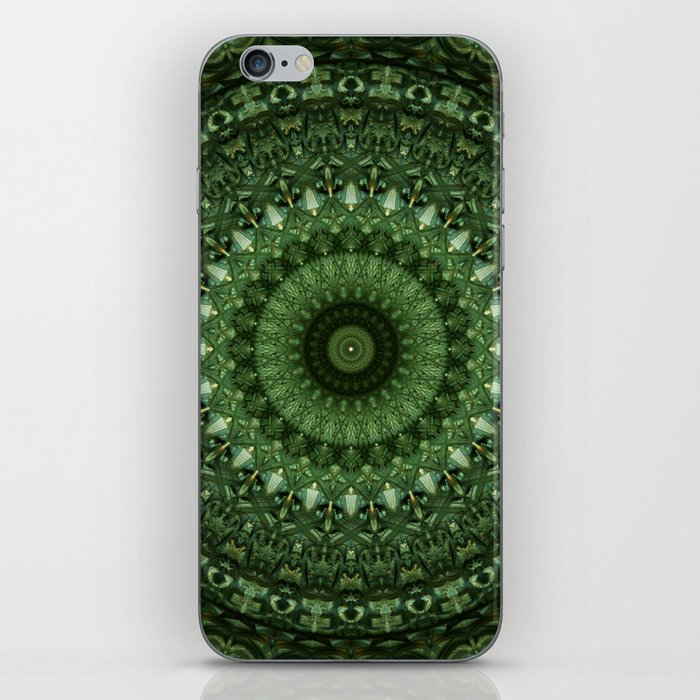 Mandala in olive green tones iPhone Skin