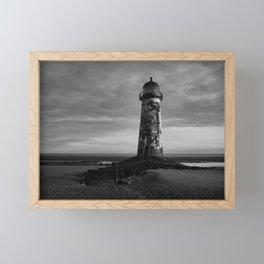 Talacre Lighthouse Black And White Framed Mini Art Print