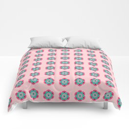 Lotus Flower Mandala, Coral Pink and Turquoise Comforters