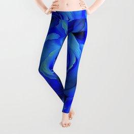 AWESOME BLUE ROSE GARDEN  PATTERN ART DESIGN Leggings