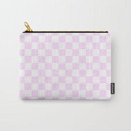 Small Checkered - White and Pastel Violet Carry-All Pouch