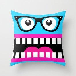 Crazy Blue Nerdy Face Throw Pillow