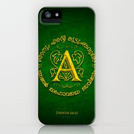 Joshua 24:15 - (Gold on Green) Monogram A iPhone Case