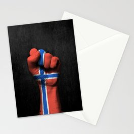 Norwegian Flag on a Raised Clenched Fist Stationery Cards