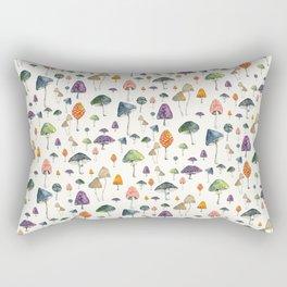Watercolor mushrooms pattern on cream background Rectangular Pillow