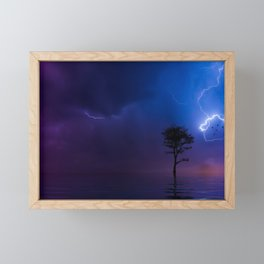 Gorgeous Lightning Flashing with a Solo Tree Framed Mini Art Print