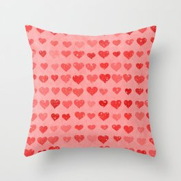 Pink Valentines Love Hearts Throw Pillow