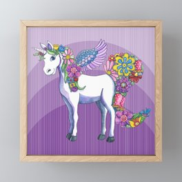 A Unicorn Sprouting Flowers Framed Mini Art Print