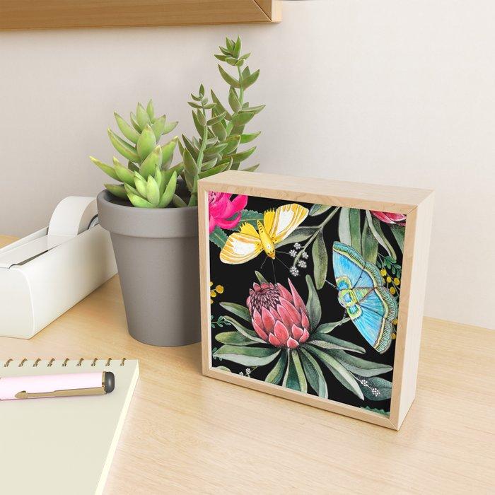 Protea flower botanical watercolor Framed Mini Art Print