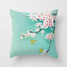 Dreamy cherry blossom Throw Pillow