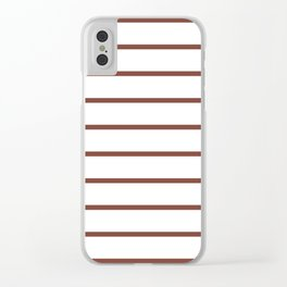 Horizontal Lines (Maroon & White Pattern) Clear iPhone Case
